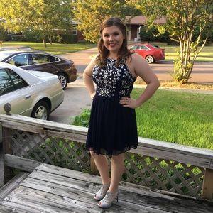 Short navy and silver homecoming dress